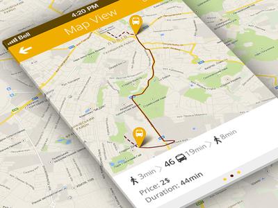 Map view map pin ui ios iphone design flat clean bus lviv