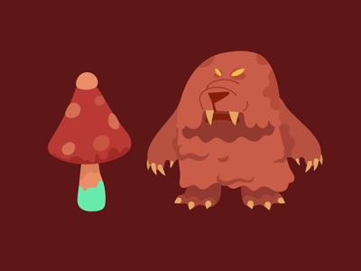 Saber-tooth Mole Bear tooth bear mole mushroom asset game
