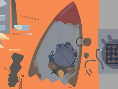 Bird Rocket Head asset game rocket head