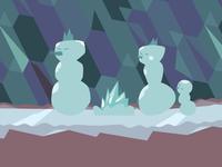 Snowmen family around their iceplace