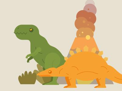 The Dinosaurs premieval volcano t-rex dinosaurs