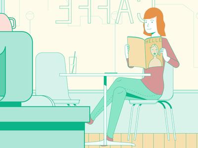 Girl in cafe cafe vector girl