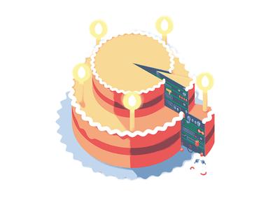 Cake 5 celebrating candle cake