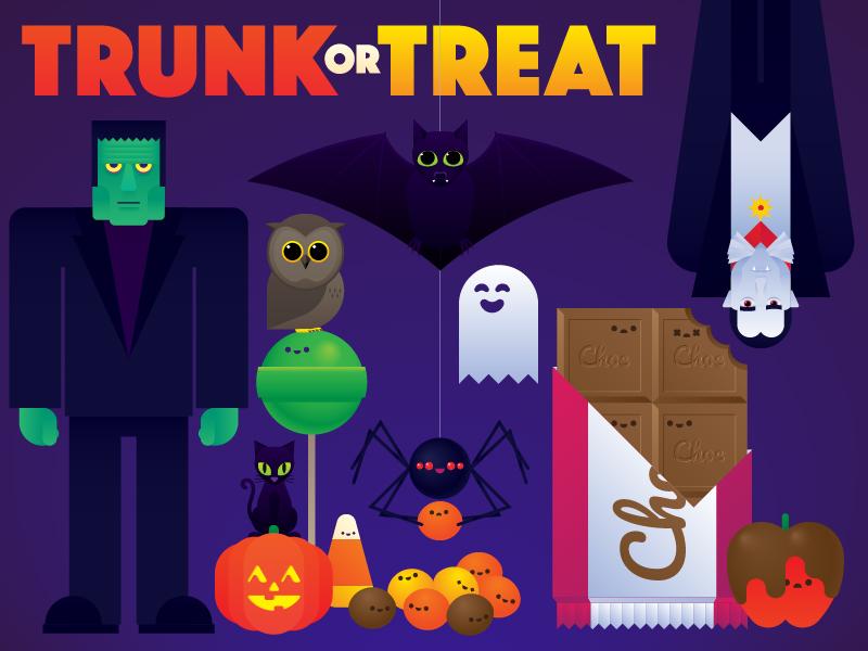 Trunk Or Treat ghost corn cat spider vampire dracula frankenstein owl candy bat halloween