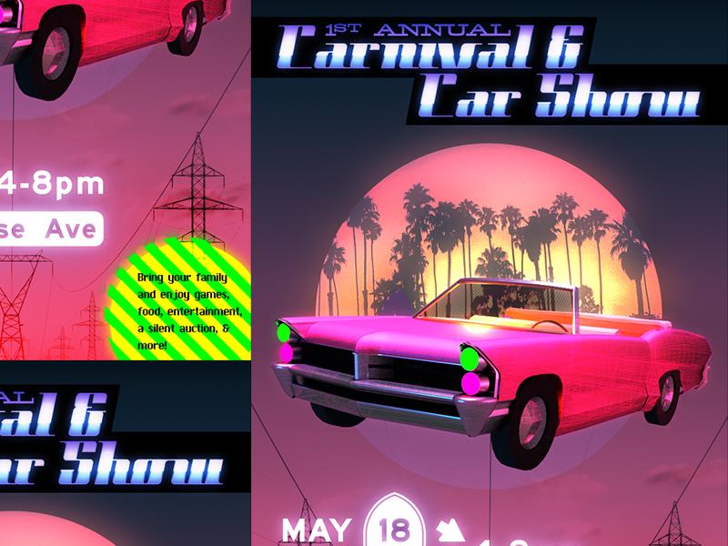 Carnival & Car Show socal angeles los hills beverly convertible cadillac pink retro 80s