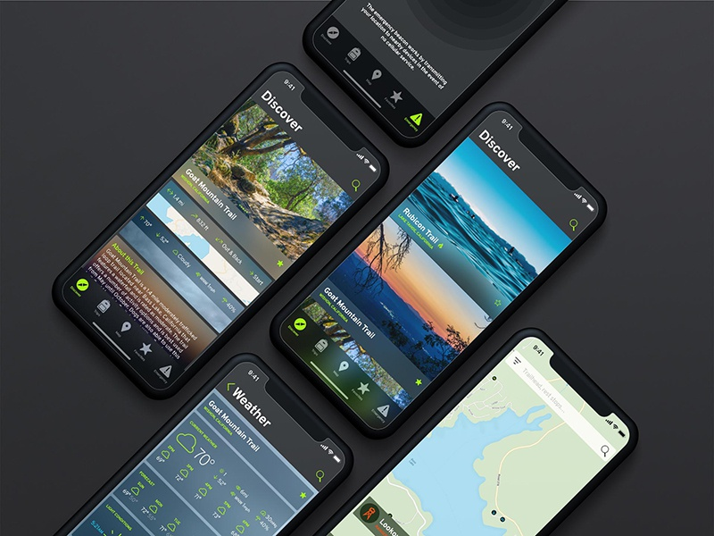 esc app social map ux ui app camping fishing backpacking hiking outdoor escape esc