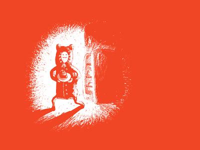Thief thief boy cake illustration fridge pajamas shadow