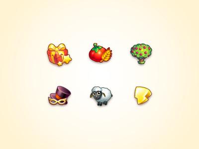 Icon set for game store game energy illustrator hat illustration tree icon sheep vegetable tomato