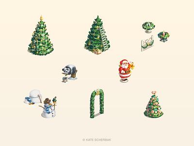 Game Objects christmas tree game santa new year winter snowman spruce panda illustrator holidays illustration