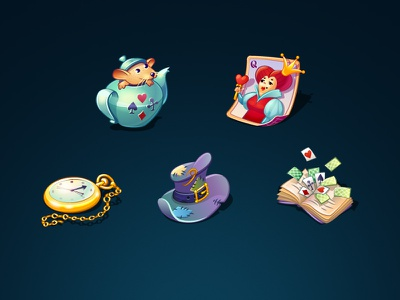 Icons set for Alice in Wonderland clock teapot book queen game illustration alice wonderland illustrator cards hat icon