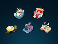 Icons set for Alice in Wonderland