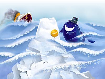 Sale illustration titanic whale ocean iceberg
