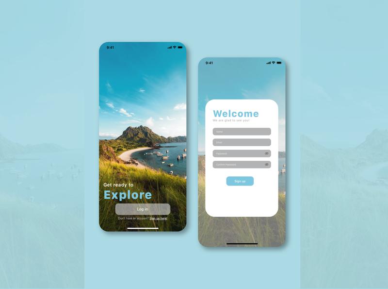 100Days UI Challenge: Travel Apps - Explore ux ui illustrations app design signup dailyui ux design design app interface design ui ux