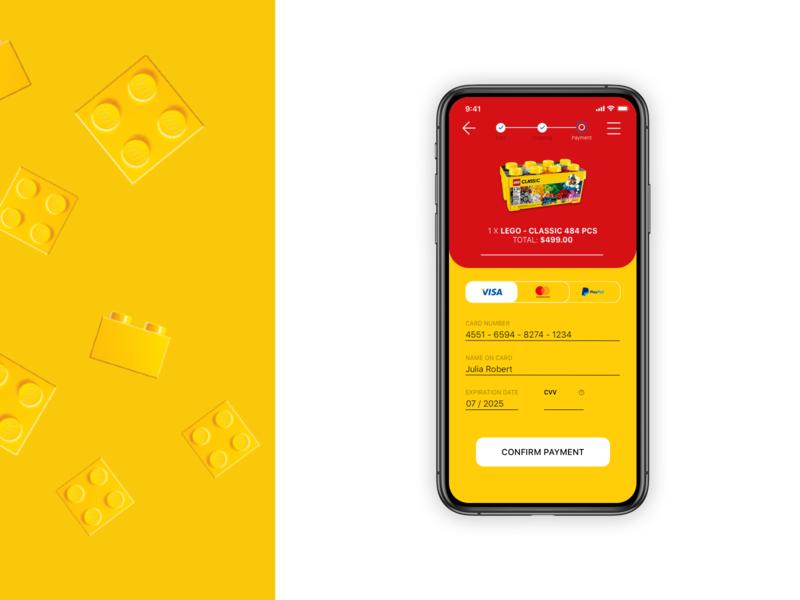 Lego Credit-Card Checkout Redesign design ui ux interface app design application dailyui sketch lego checkout creditcard ux design ui design ui