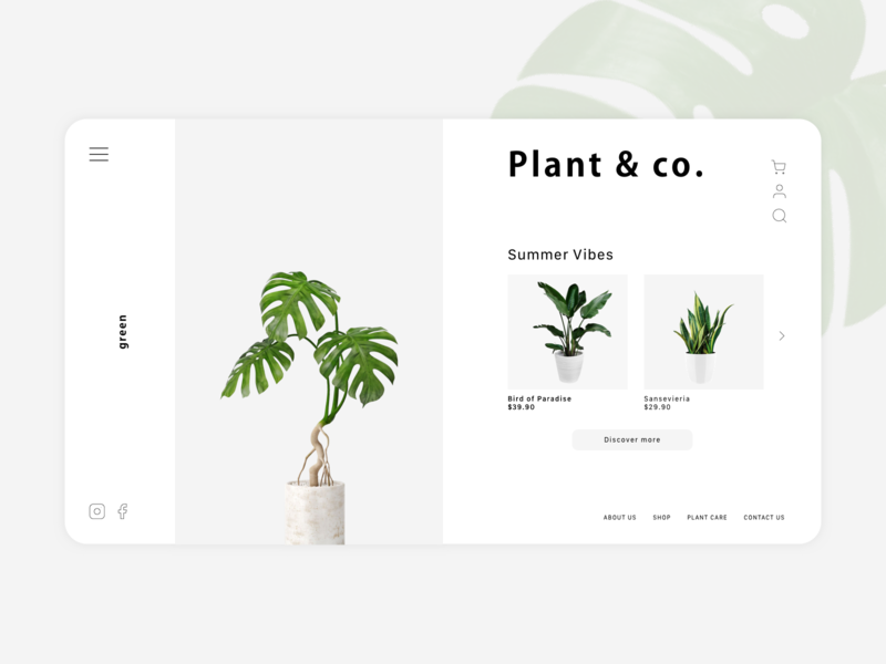 Plant & co. Landing Page landing page ui landing page design website design brand design identity minimalist green plant interface landingpage uidesign uiux ui
