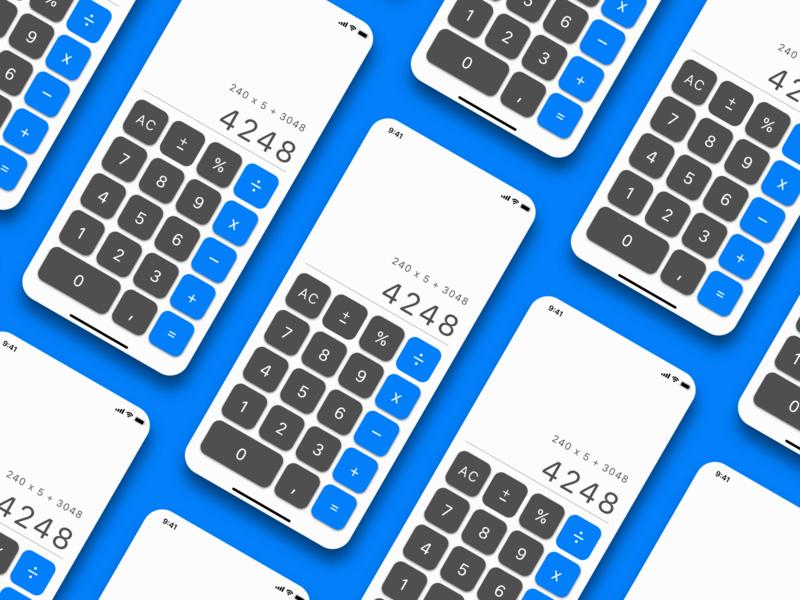 Calculator Redesign dailyui design application blue calculator app design interface uidesign ui  ux uiux ui
