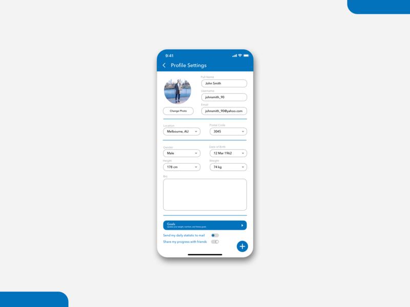 Fitness App Setting avenir next sketch dailyui uidesign design interface ui design blue myfitnesspal settings ui setting application uiux ui