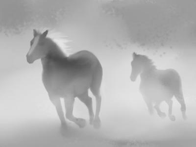 Horses sketchbook atmosphere sketch illustration autodesk sketchbook horse