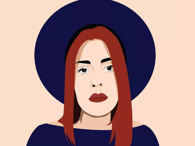 Redhead illustration portrait colors hat red girl