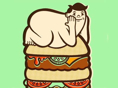 Love The Bun You're With illustration print burger screen print nude dude