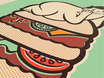 New Screen Prints & Store printmaking illustration burger screen print