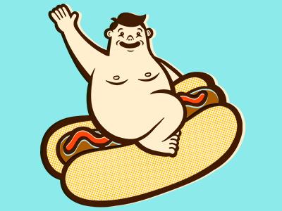 Bun love, Bun life. illustration hot dog nude dude