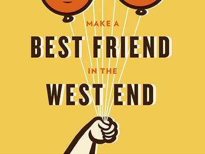 West End Best Friend street art mural balloon poster type illustration
