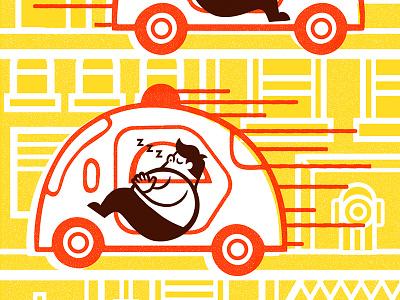 Il Corriere Della Sera newspaper self-driving cars editorial illustration