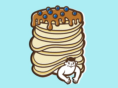 The special love I have for you, my baby blue. poster print food pancakes illustration