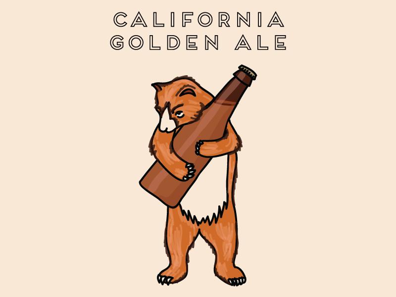 California Golden Ale california bear illustration socal ale beer label beer bear california
