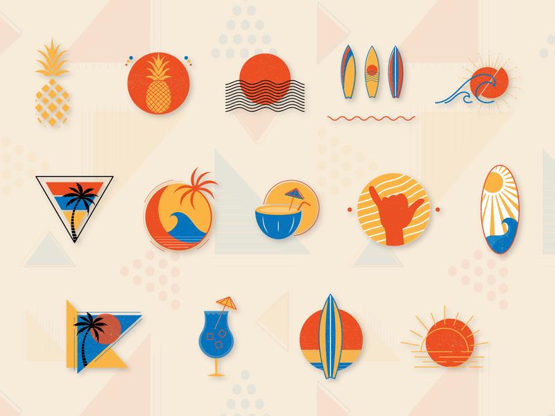 Retro Summer Premade Logo and Graphic Vectors icon vector logo design branding
