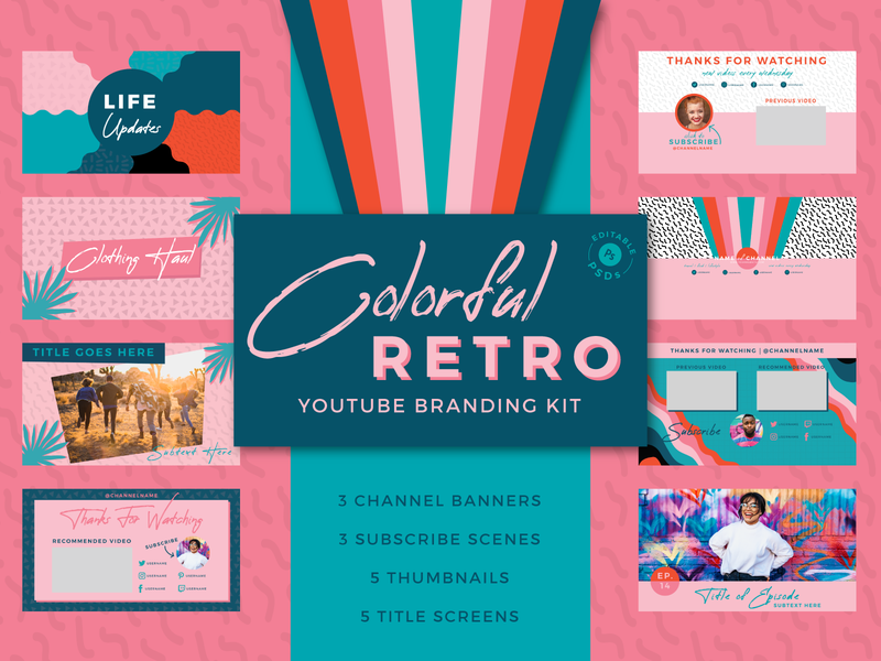 Colorful Retro YouTube Branding Kit retro colorful adobe photoshop cc end scenes subscribe scenes title screens channel art youtube channel thumbnails youtube adobe photoshop branding