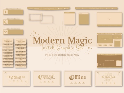 Modern Magic Streaming Overlays and Graphics bohemian stream overlays spiritual magic modern streamlabs obs stream