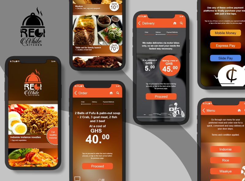 REGIWhite Preview delivery order food illustration logo ui