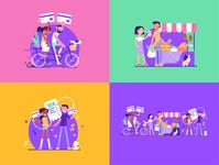 PAYTGTHR ILLUSTRATIONS SET illustration art illustrator vector design illustration