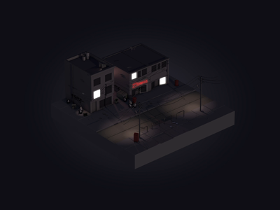 City by night icon illsutration illsutrator animation motion isometry isometric 3d c4d