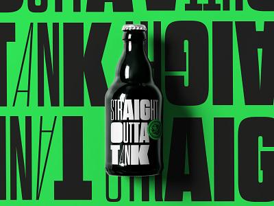 Straight  Outta  Tank branding packaging beer label illustration design logo