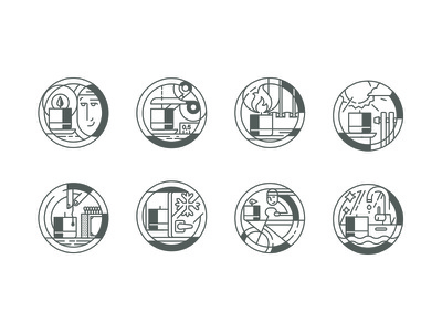 Message Candles icons set candle lineart icos