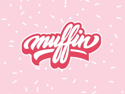 Muffin sweet pink logo lettering muffin