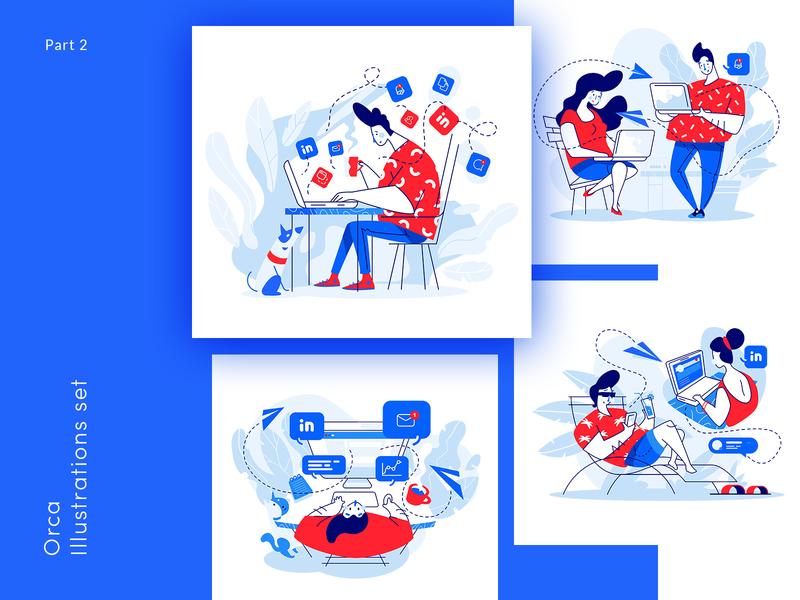 Orca Illustrations set -part 2 ux design vector ui illustration