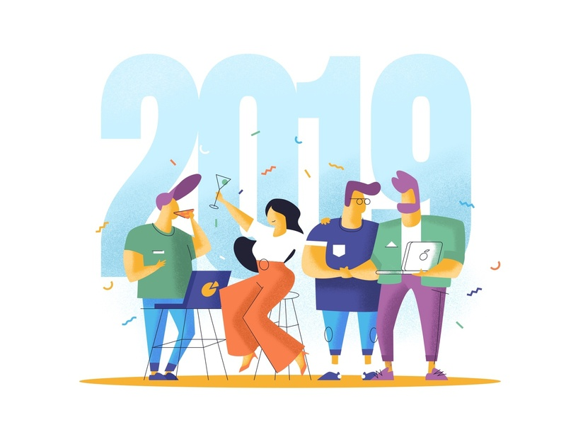 Happy New Year 2019 ui design illustration