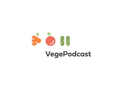 🥕🍎🥒VegePodcast illustration font icon branding vector design logo