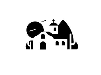 Mexico desert church branding vector icon illustration black  white negative space logo