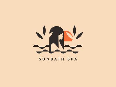 SUNBATH SPA woman sun spa branding icon vector font illustration logo