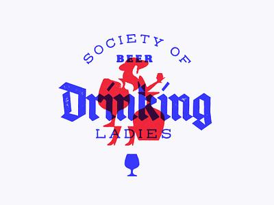 Drinking Ladies 🍺 beer negative space lettering ui branding illustration font logo