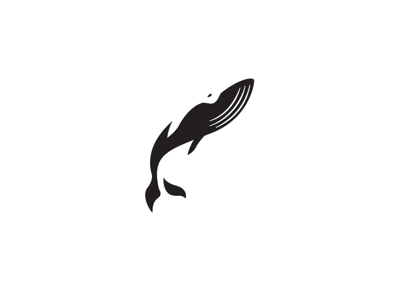Whale whale negative space negative space logo icon vector illustration logo