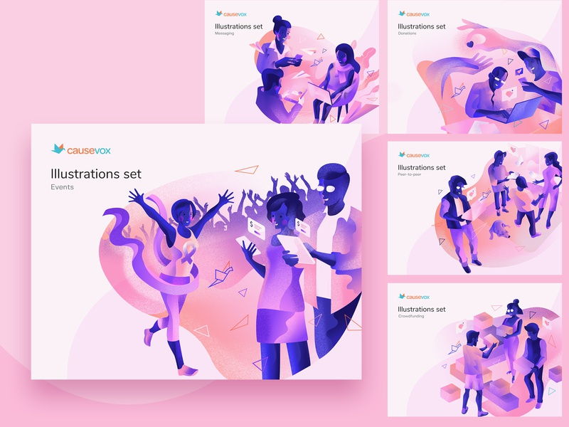 Causevox Illustrations app product design product website branding web ux ui vector design illustration