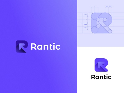 Rantic branding font ui icon lettering vector design illustration logo