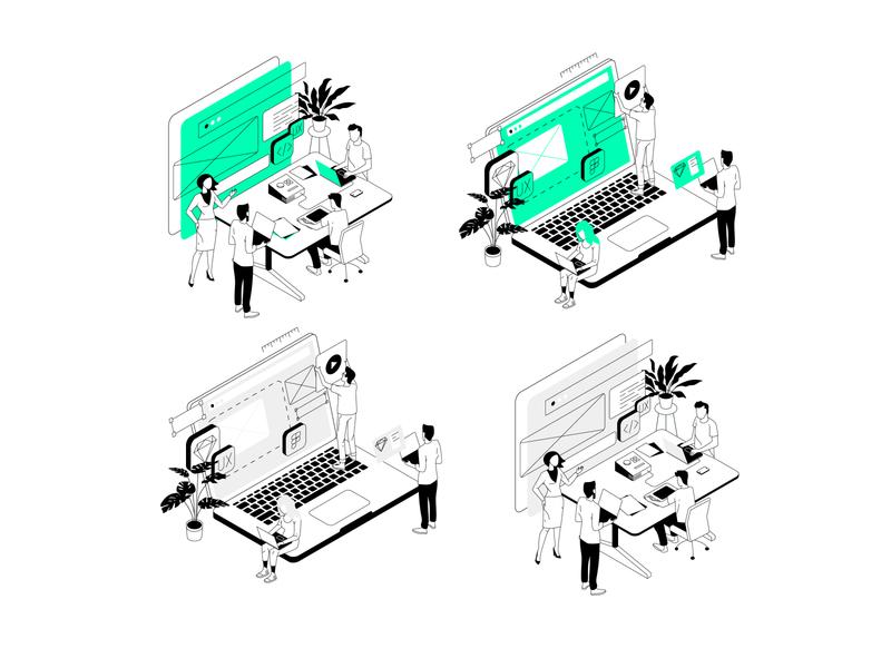 UI illustrations set office isometric illustrator ui vector design illustration
