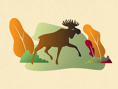moose in autumn run color vector art noise design illustration gradient art vintage moose autumn illustrator vector